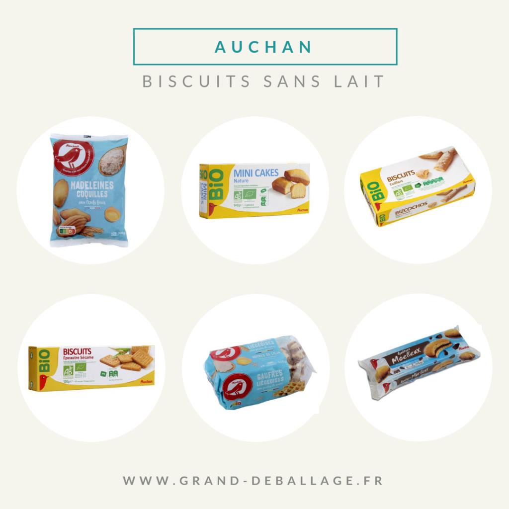 biscuits sans lait du supermarché auchan
