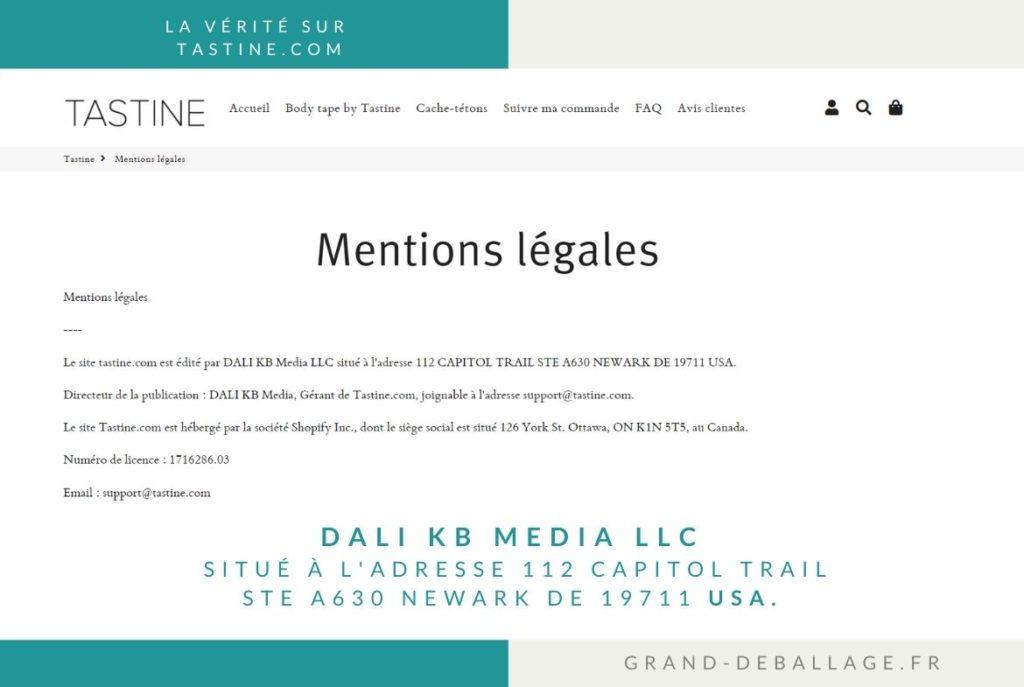 Mentions légales du site www.tastine.com