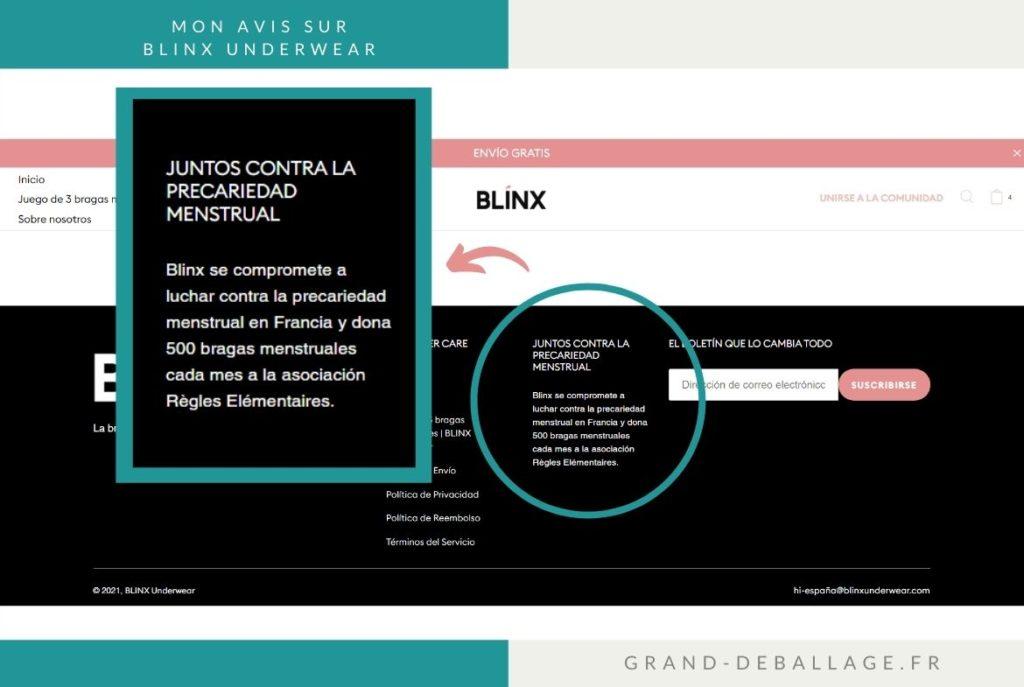BLINX DON DE CULOTTES MENSTRUELLES