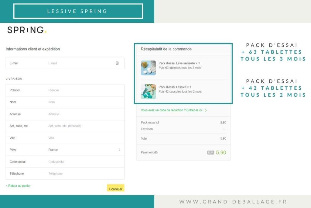 processus d'abonnement du site SPRING LESSIVE